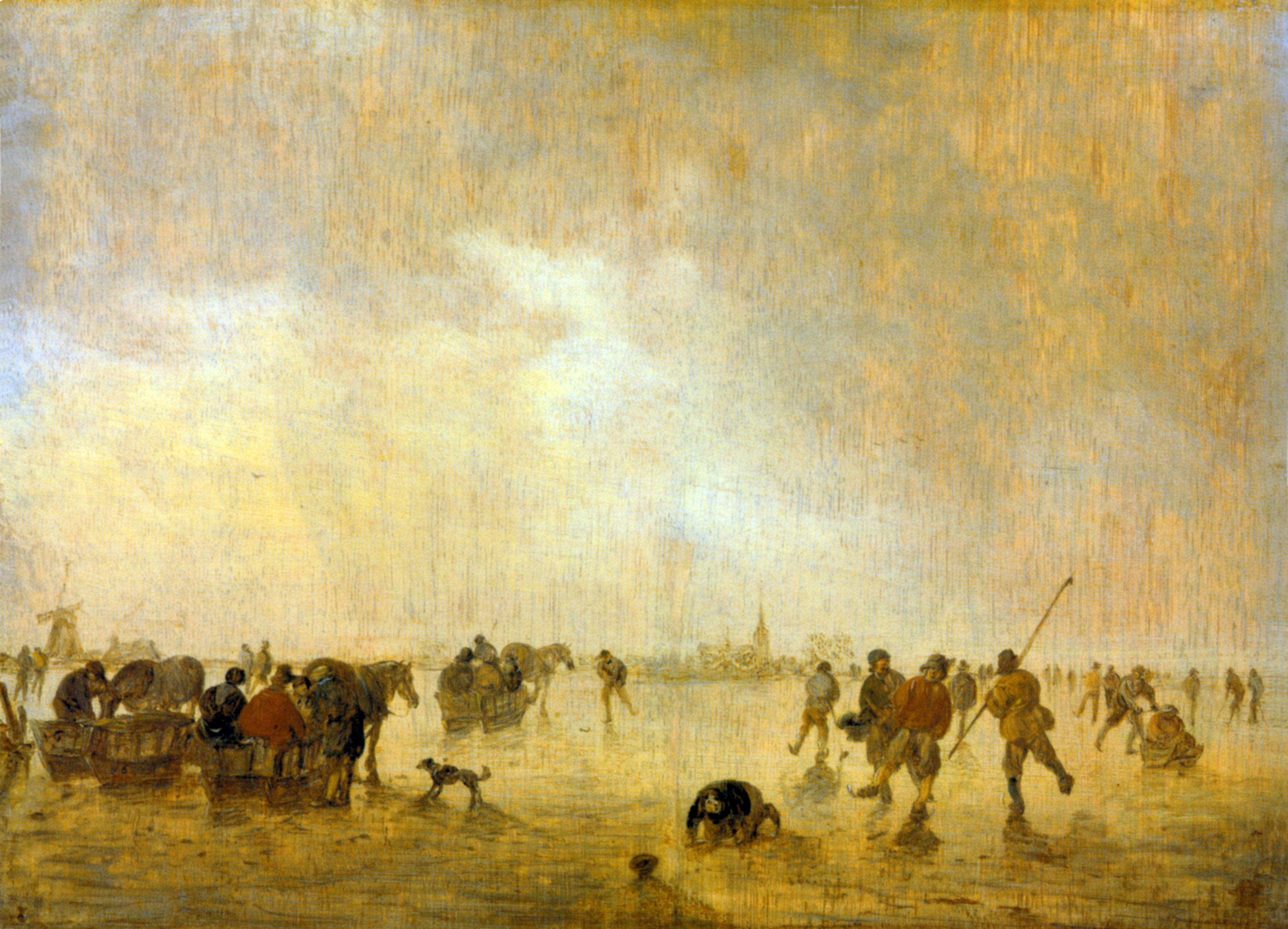 Eislandschaft mit Schlittschuhläufern by Jan van Goyen