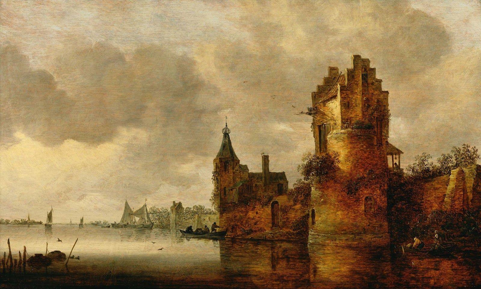 Estuary with Round Tower by Jan van Goyen
