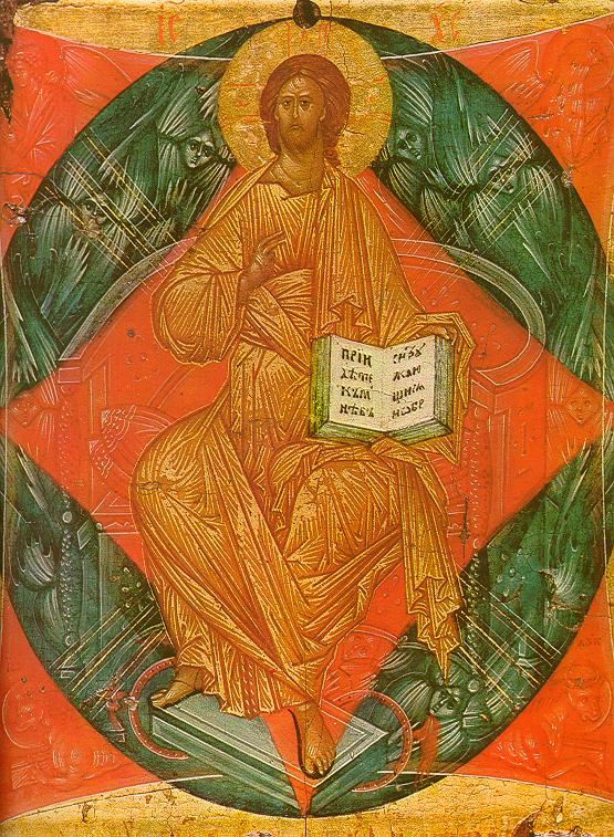 Fig. 1. Christ Enthroned in Glory by Andrei Rublev, 1400–1410, in the collection of the Tretyakov Gallery, Inv. No. 22124.