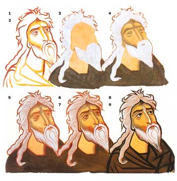 Succession of steps (1–9) in the painting of faces of the 11th century fresco of Ateni Sion