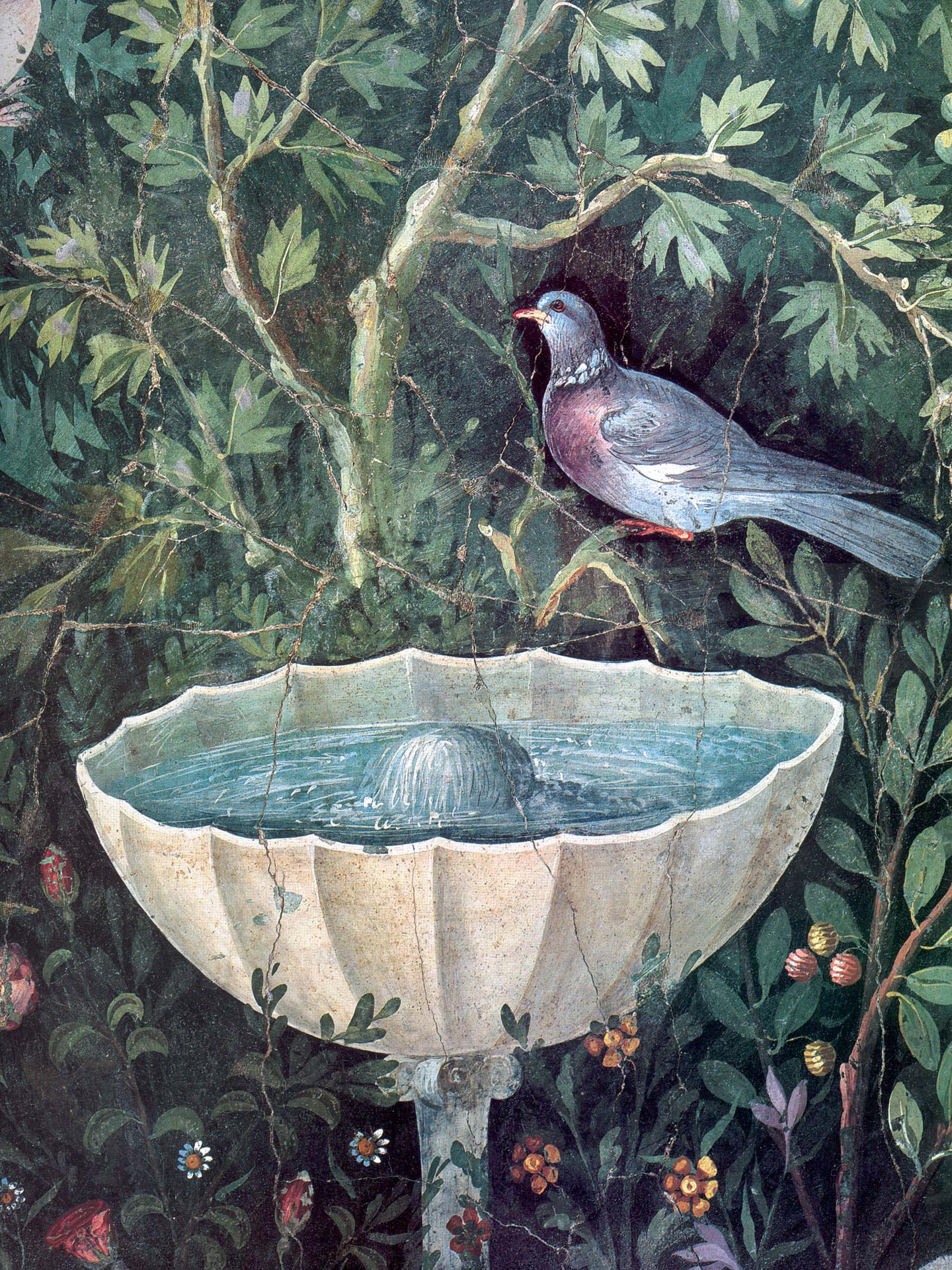 Fountain and bird from fresco of the triclinium of the House of the Golden Bracelet, Pompeii, Italy