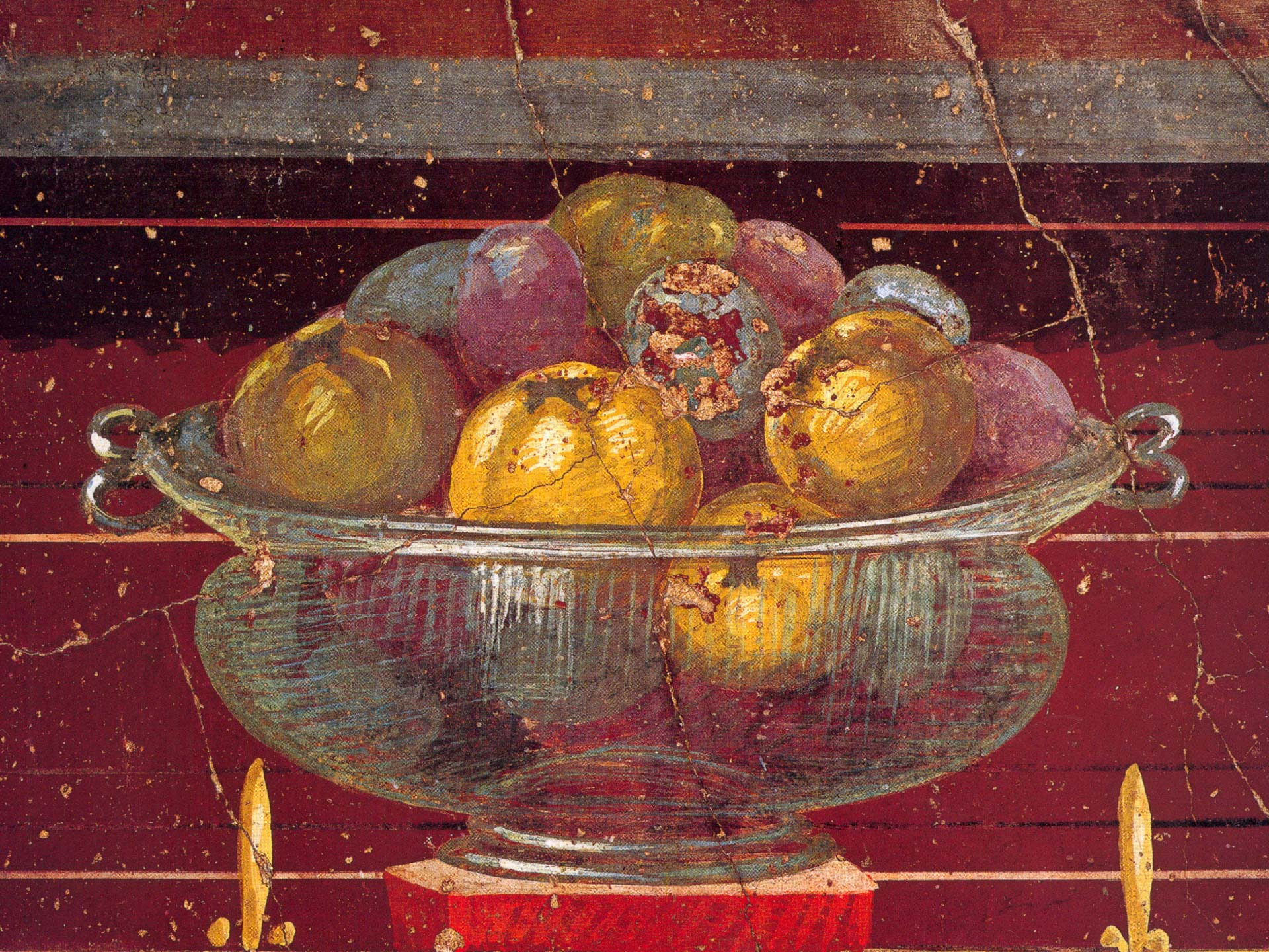 Glass vase filled with fruit (detail) of fresco in a room of Poppaea's Villa at Oplontis