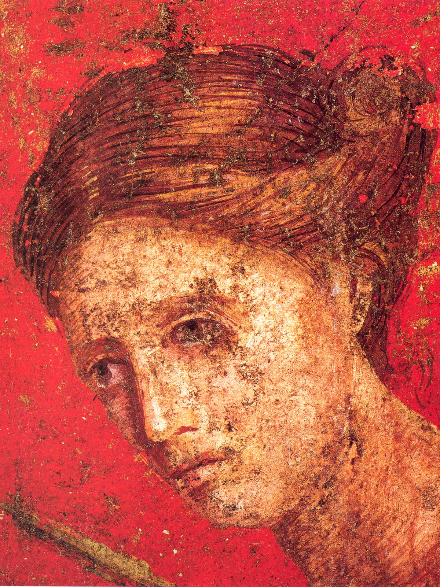 Female behind figure of the Bacchante in Scene VII from the Villa of the Mysteries, Porta Ercolan, Italy