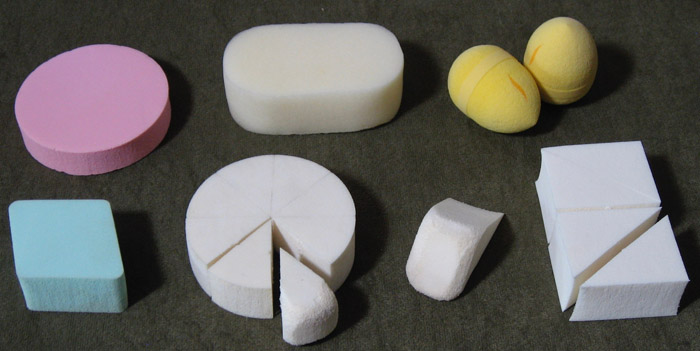 Selection of cosmetic sponges