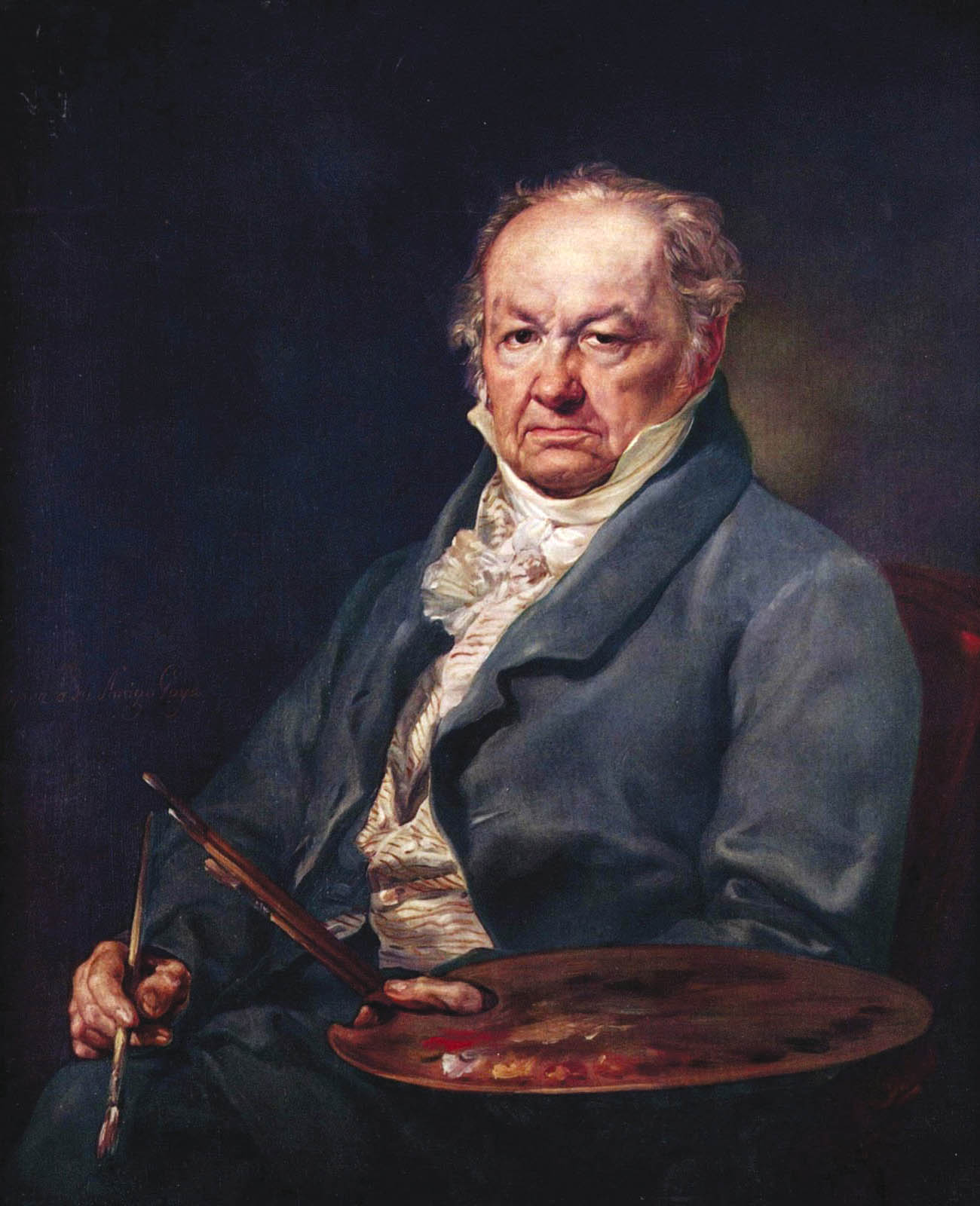 Portrait of Goya with his palette, 1827, by Vicente Lopez y Portana (1772-1850)