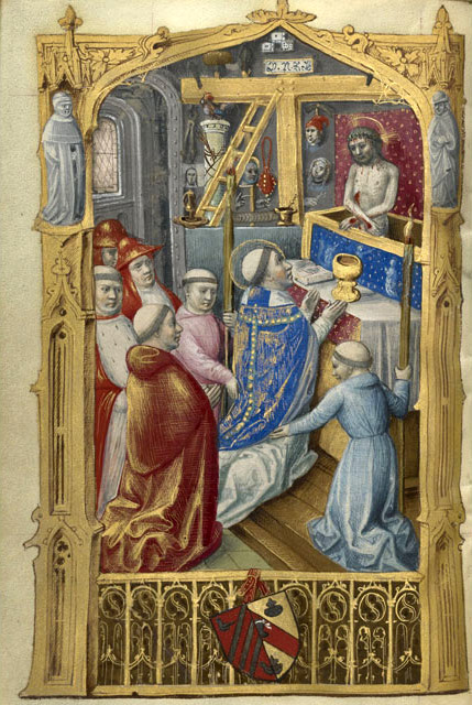 Mass of St. Gregory, about 1500, Master of Jacques de Besançon. The J. Paul Getty Museum, Los Angeles, Ms. 109, fol. 55v