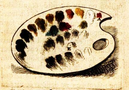 Roger de Piles' palette described in Les Élémens de Peinture Pratique
