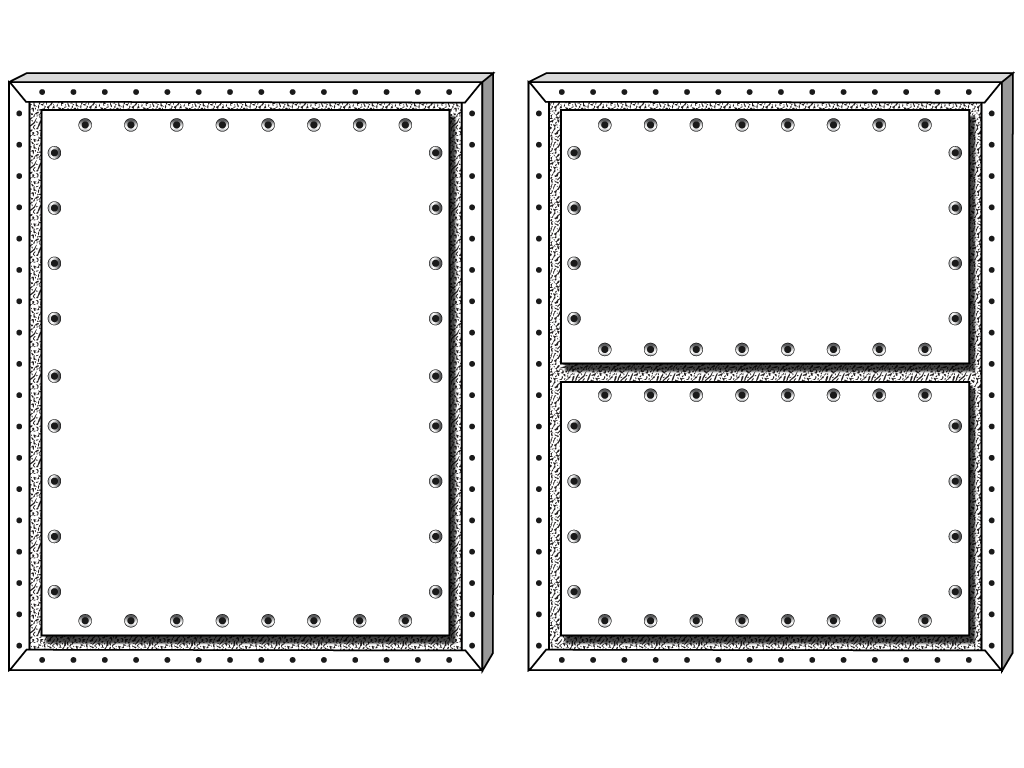 Figure 1. Two backing boards attached to reverse of stretchers.